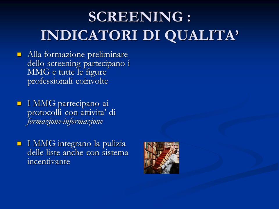 SCREENING : INDICATORI DI QUALITA Alla formazione preliminare dello screening partecipano i MMG e tutte le figure professionali coinvolte Alla formazi