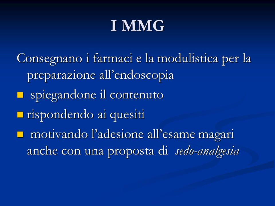 I MMG Consegnano i farmaci e la modulistica per la preparazione allendoscopia spiegandone il contenuto spiegandone il contenuto rispondendo ai quesiti