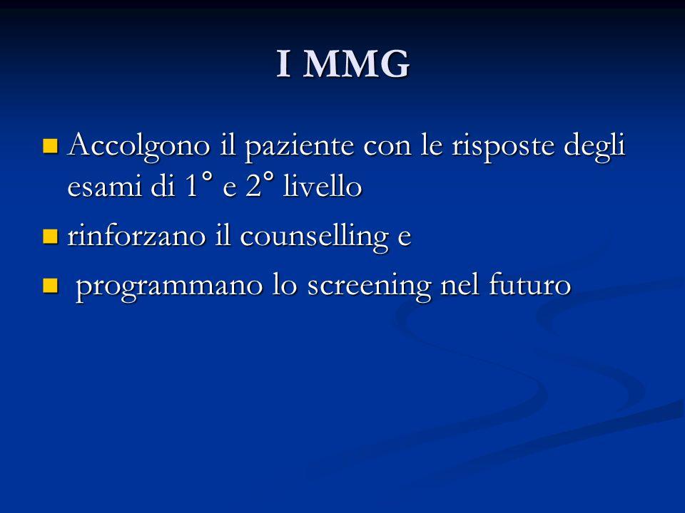I MMG Accolgono il paziente con le risposte degli esami di 1° e 2° livello Accolgono il paziente con le risposte degli esami di 1° e 2° livello rinfor