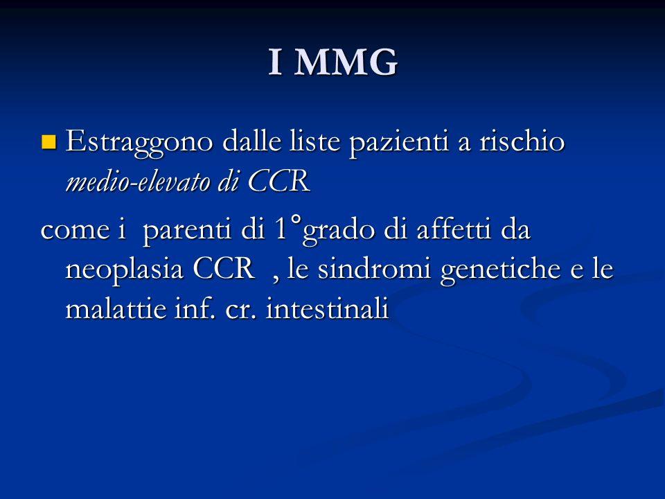 I MMG Estraggono dalle liste pazienti a rischio medio-elevato di CCR Estraggono dalle liste pazienti a rischio medio-elevato di CCR come i parenti di