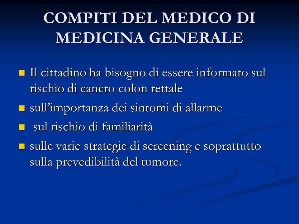 COMPITI DEL MEDICO DI MEDICINA GENERALE Il cittadino ha bisogno di essere informato sul rischio di cancro colon rettale Il cittadino ha bisogno di ess