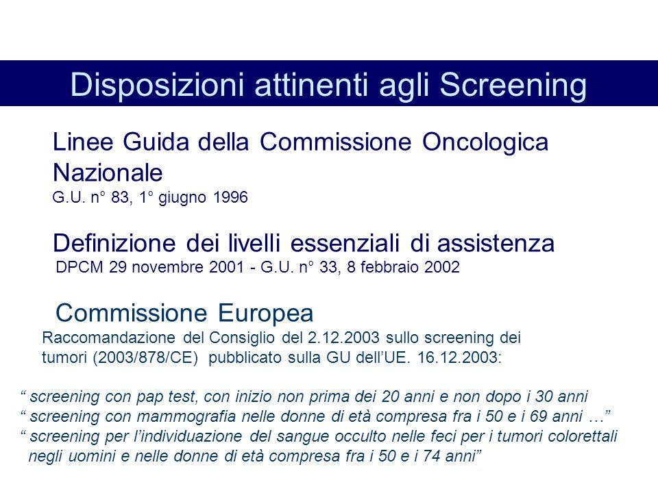 Disposizioni attinenti agli Screening Linee Guida della Commissione Oncologica Nazionale G.U.