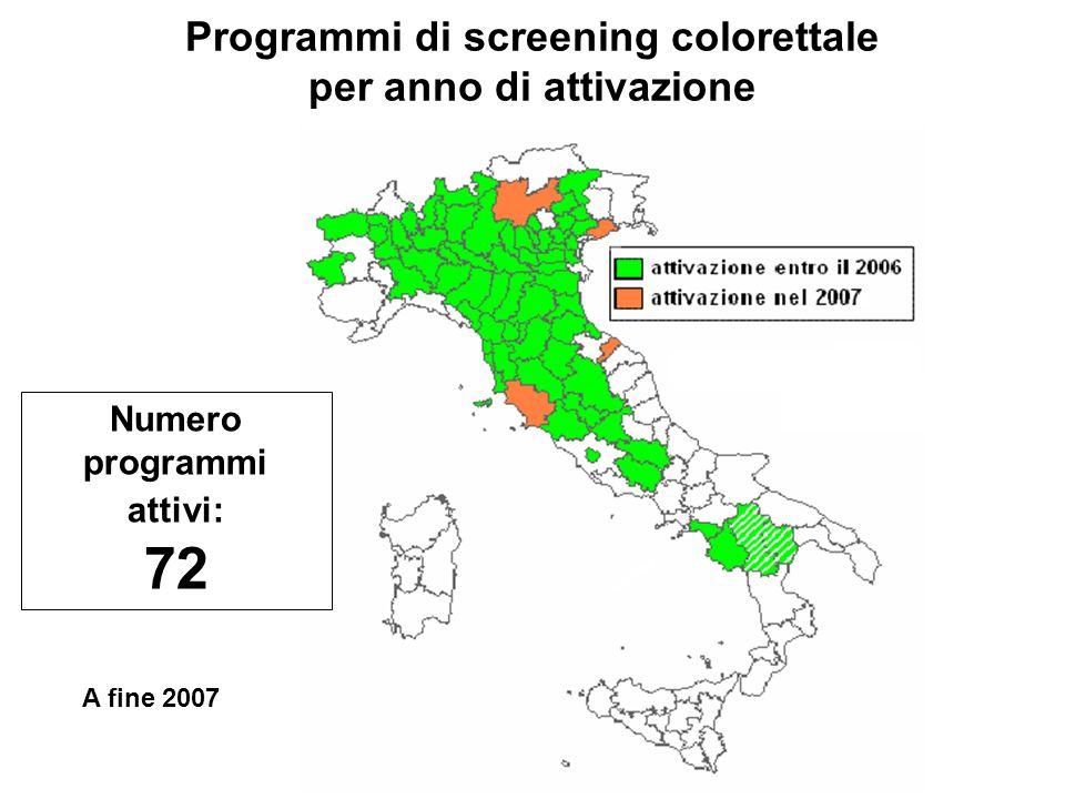 Programmi di screening colorettale per anno di attivazione Numero programmi attivi: 72 A fine 2007
