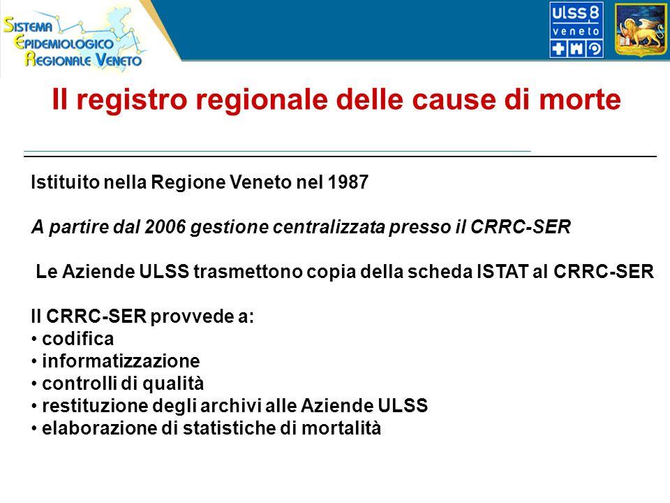 Istituito nella Regione Veneto nel 1987 A partire dal 2006 gestione centralizzata presso il CRRC-SER Le Aziende ULSS trasmettono copia della scheda ISTAT al CRRC-SER Il CRRC-SER provvede a: codifica informatizzazione controlli di qualità restituzione degli archivi alle Aziende ULSS elaborazione di statistiche di mortalità Il registro regionale delle cause di morte