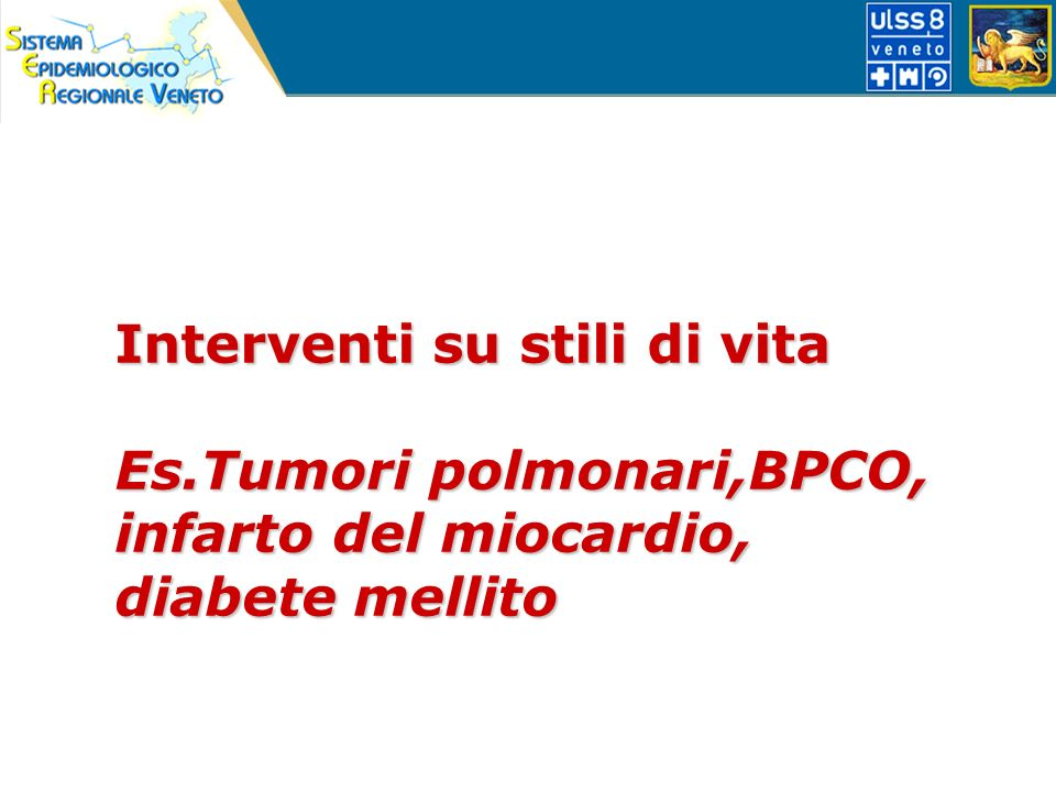 Interventi su stili di vita Es.Tumori polmonari,BPCO, infarto del miocardio, diabete mellito