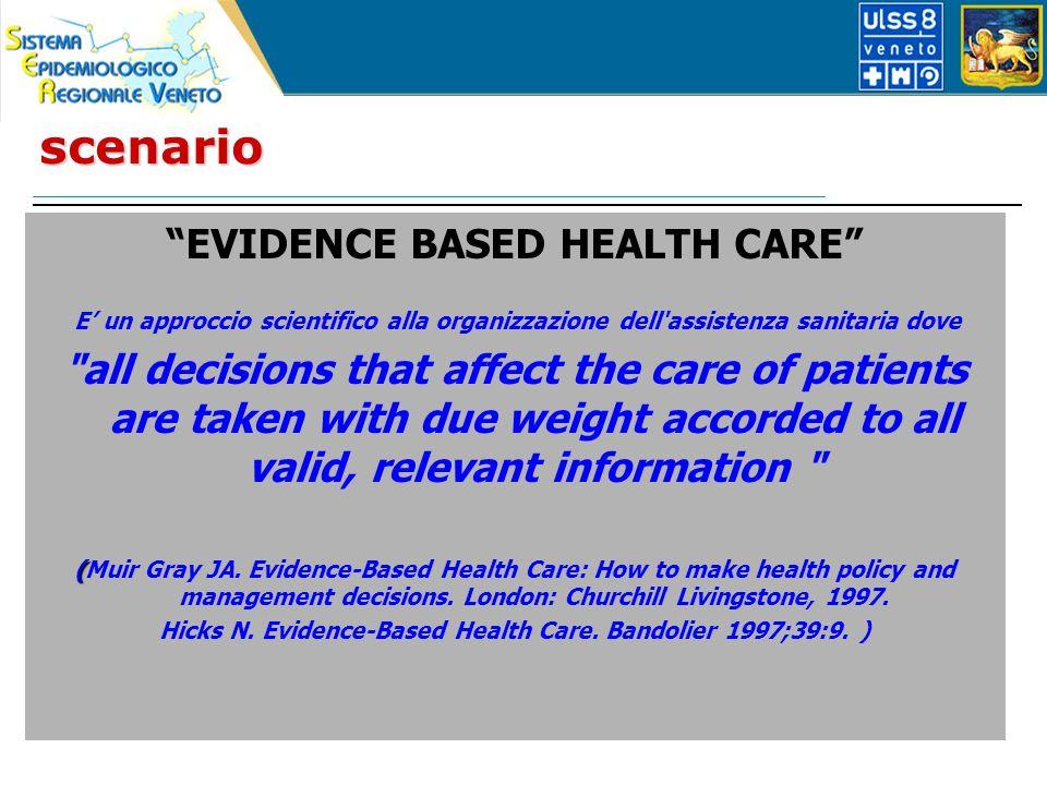 scenario EVIDENCE BASED HEALTH CARE E un approccio scientifico alla organizzazione dell'assistenza sanitaria dove