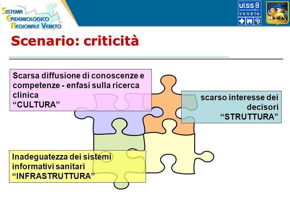 Scenario: criticità Scarsa diffusione di conoscenze e competenze - enfasi sulla ricerca clinica CULTURA scarso interesse dei decisori STRUTTURA Inadeguatezza dei sistemi informativi sanitari INFRASTRUTTURA