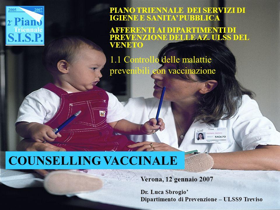 COUNSELLING VACCINALE Verona, 12 gennaio 2007 Dr. Luca Sbrogio Dipartimento di Prevenzione – ULSS9 Treviso PIANO TRIENNALE DEI SERVIZI DI IGIENE E SAN