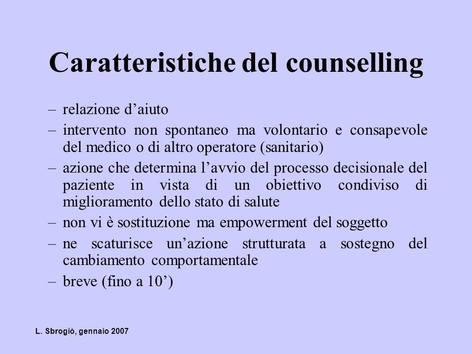 Caratteristiche del counselling breve –relativa facilità –basso costo –grande efficacia se applicato su popolazione –non prove dell esistenza di effetti negativi L.