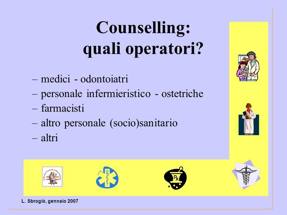 Counselling: quali operatori? –medici - odontoiatri –personale infermieristico - ostetriche –farmacisti –altro personale (socio)sanitario –altri L. Sb