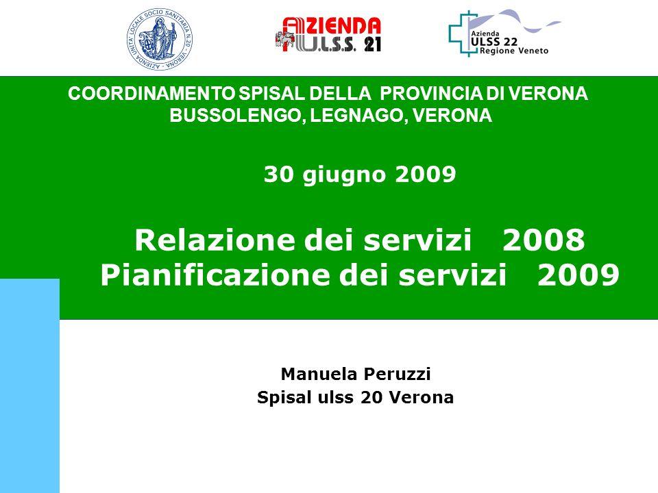 COORDINAMENTO SPISAL DELLA PROVINCIA DI VERONA BUSSOLENGO, LEGNAGO, VERONA 30 giugno 2009 Relazione dei servizi 2008 Pianificazione dei servizi 2009 M