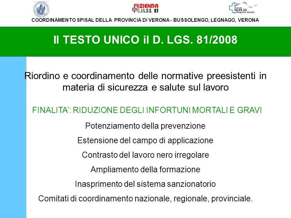 COORDINAMENTO SPISAL DELLA PROVINCIA DI VERONA - BUSSOLENGO, LEGNAGO, VERONA Il TESTO UNICO il D. LGS. 81/2008 Riordino e coordinamento delle normativ