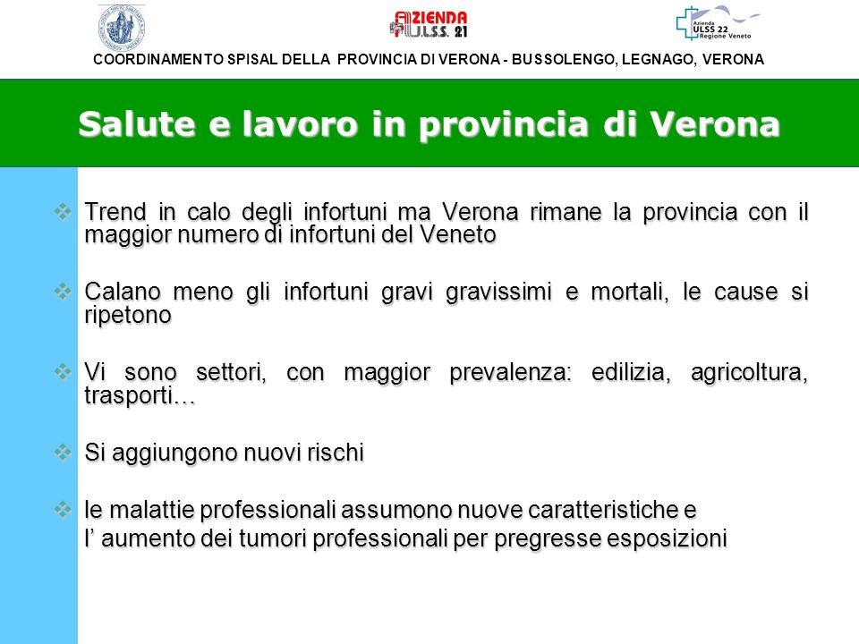 COORDINAMENTO SPISAL DELLA PROVINCIA DI VERONA - BUSSOLENGO, LEGNAGO, VERONA Salute e lavoro in provincia di Verona Trend in calo degli infortuni ma V