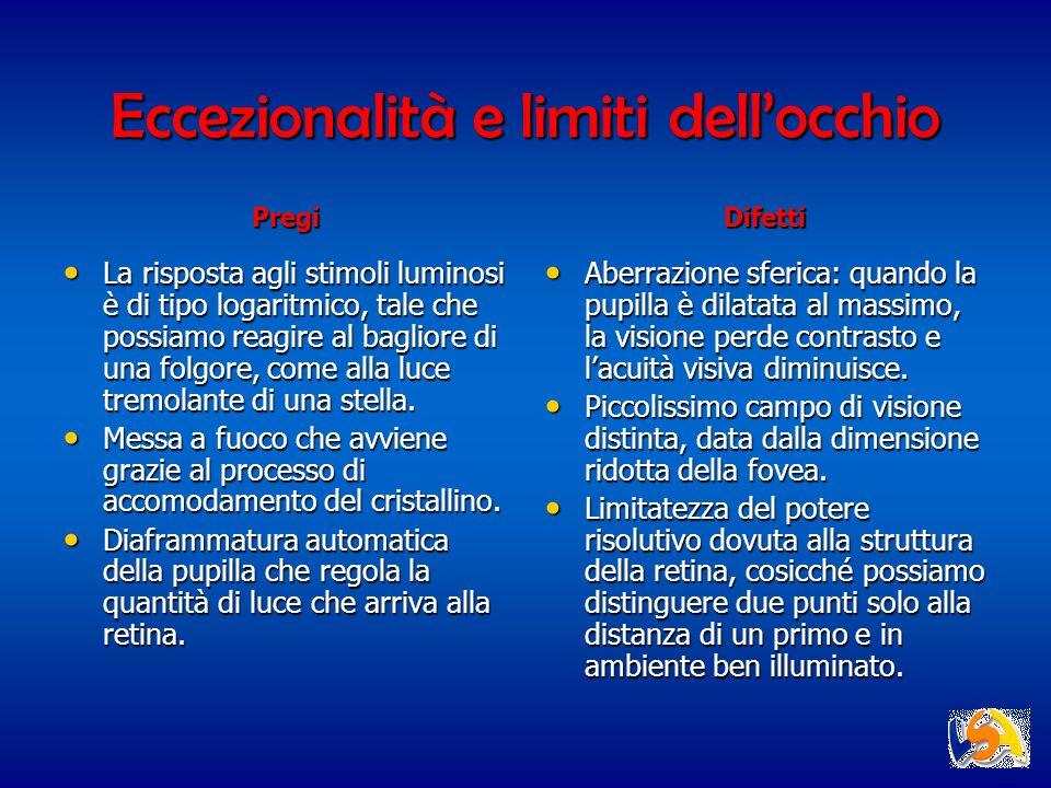 Eccezionalità e limiti dellocchio La risposta agli stimoli luminosi è di tipo logaritmico, tale che possiamo reagire al bagliore di una folgore, come