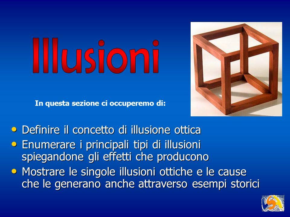 Definire il concetto di illusione ottica Definire il concetto di illusione ottica Enumerare i principali tipi di illusioni spiegandone gli effetti che