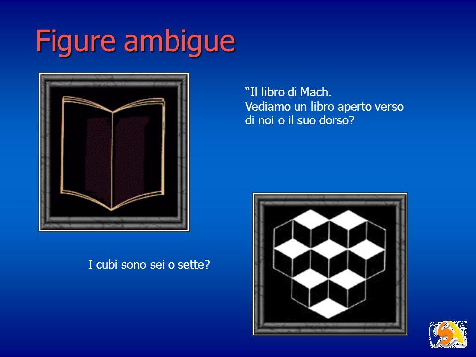 Figure ambigue Il libro di Mach. Vediamo un libro aperto verso di noi o il suo dorso? I cubi sono sei o sette?