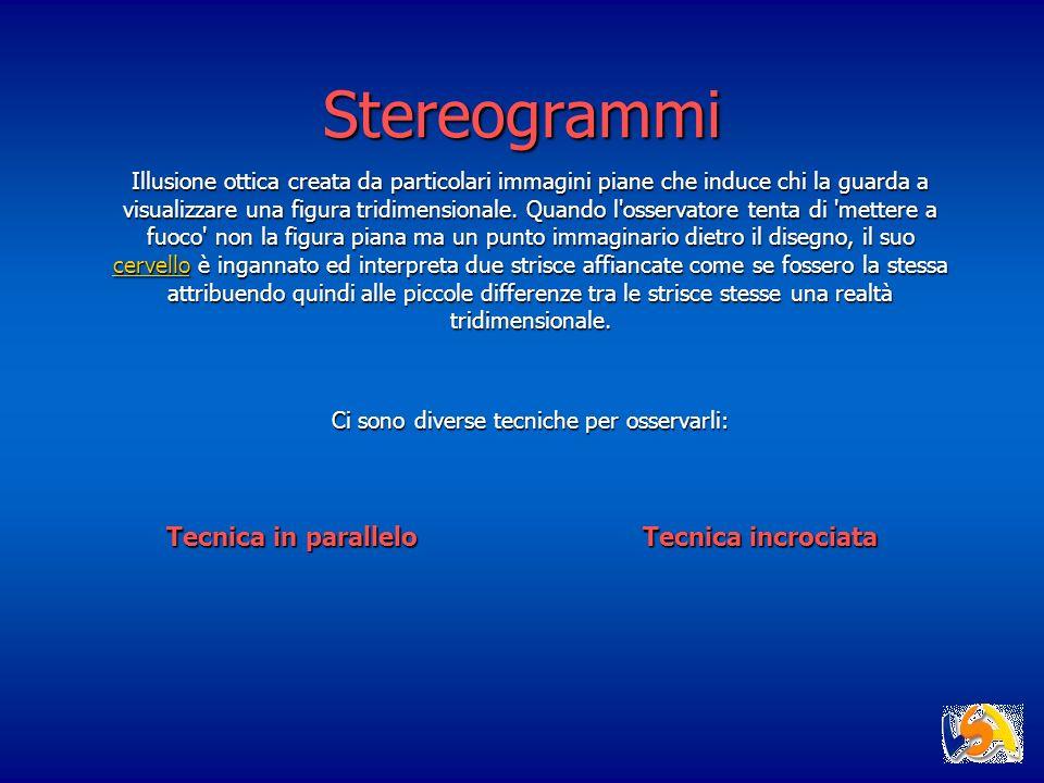 Stereogrammi Illusione ottica creata da particolari immagini piane che induce chi la guarda a visualizzare una figura tridimensionale. Quando l'osserv