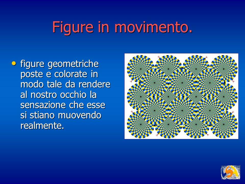 Figure in movimento. figure geometriche poste e colorate in modo tale da rendere al nostro occhio la sensazione che esse si stiano muovendo realmente.