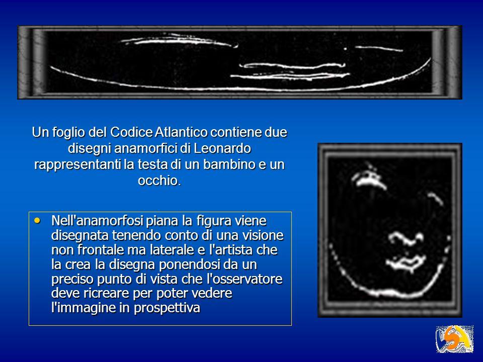 Un foglio del Codice Atlantico contiene due disegni anamorfici di Leonardo rappresentanti la testa di un bambino e un occhio. Nell'anamorfosi piana la