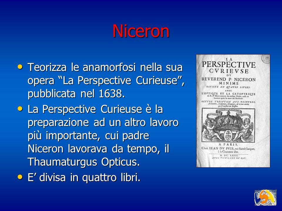 Niceron Teorizza le anamorfosi nella sua opera La Perspective Curieuse, pubblicata nel 1638. Teorizza le anamorfosi nella sua opera La Perspective Cur