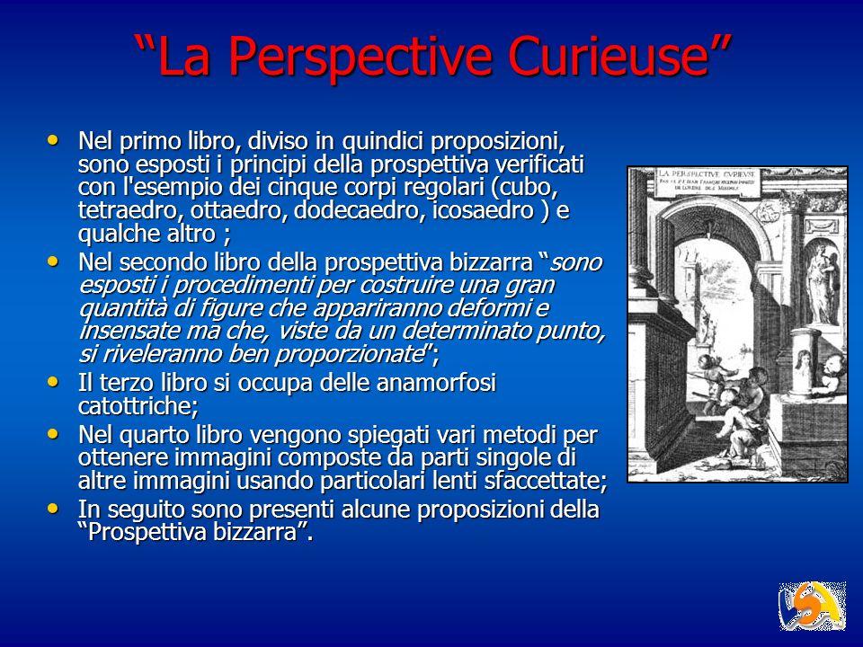 La Perspective Curieuse Nel primo libro, diviso in quindici proposizioni, sono esposti i principi della prospettiva verificati con l'esempio dei cinqu