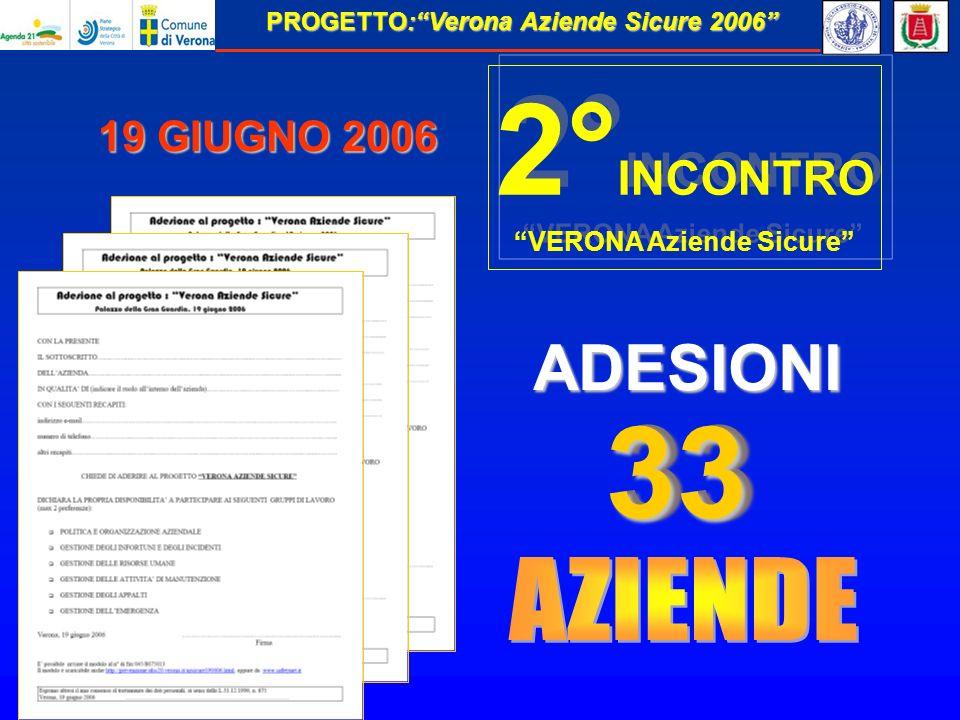 PROGETTO:Verona Aziende Sicure 2006 19 GIUGNO 2006 3333 ADESIONI 2° INCONTRO VERONA Aziende Sicure 2° INCONTRO VERONA Aziende Sicure