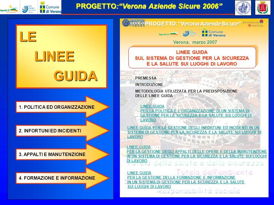 Verona, marzo 2007 LINEE GUIDA PER LA GESTIONE DEGLI APPALTI DELLE OPERE E DELLA MANUTENZIONE IN UN SISTEMA DI GESTIONE PER LA SICUREZZA E LA SALUTE SUI LUOGHI DI LAVORO LINEE GUIDA PER LA GESTIONE DELLA FORMAZIONE E INFORMAZIONE IN UN SISTEMA DI GESTIONE PER LA SICUREZZA E LA SALUTE SUI LUOGHI DI LAVORO METODOLOGIA UTILIZZATA PER LA PREDISPOSIZIONE DELLE LINEE GUIDA INTRODUZIONE PREMESSA LINEE GUIDA SUL SISTEMA DI GESTIONE PER LA SICUREZZA E LA SALUTE SUI LUOGHI DI LAVORO LINEE GUIDA SUL SISTEMA DI GESTIONE PER LA SICUREZZA E LA SALUTE SUI LUOGHI DI LAVORO 1.