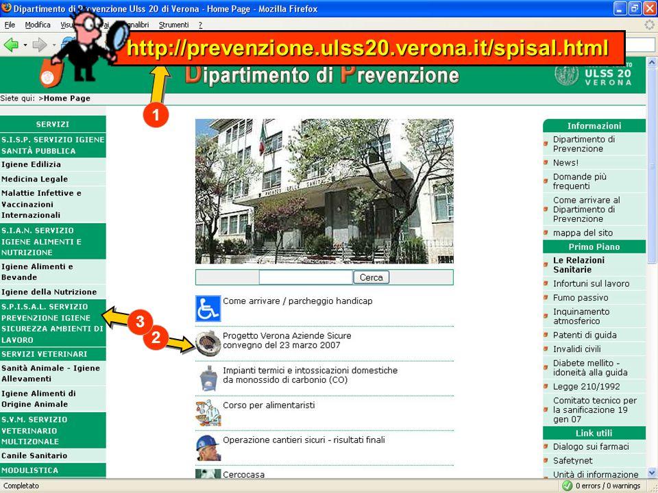 PROGETTO:Verona Aziende Sicure 2006 1 2 3 http://prevenzione.ulss20.verona.it/spisal.html