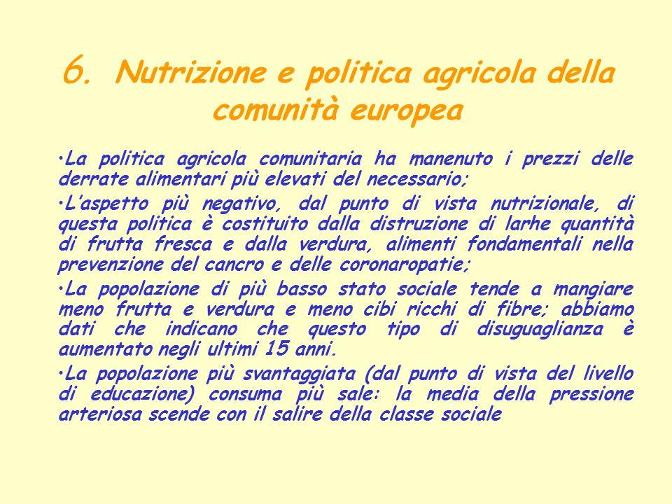 6. Nutrizione e politica agricola della comunità europea La politica agricola comunitaria ha manenuto i prezzi delle derrate alimentari più elevati de
