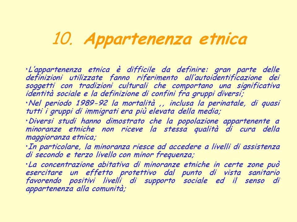 10. Appartenenza etnica Lappartenenza etnica è difficile da definire: gran parte delle definizioni utilizzate fanno riferimento allautoidentificazione