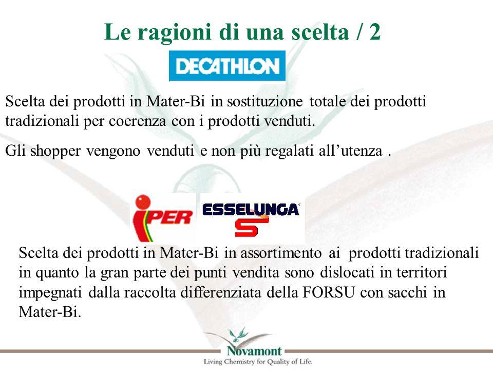 Le ragioni di una scelta / 2 Scelta dei prodotti in Mater-Bi in sostituzione totale dei prodotti tradizionali per coerenza con i prodotti venduti. Gli