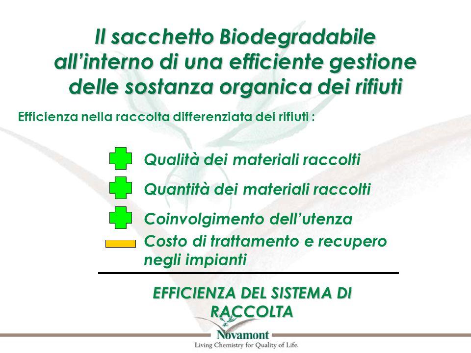 Il sacchetto Biodegradabile allinterno di una efficiente gestione delle sostanza organica dei rifiuti Efficienza nella raccolta differenziata dei rifi