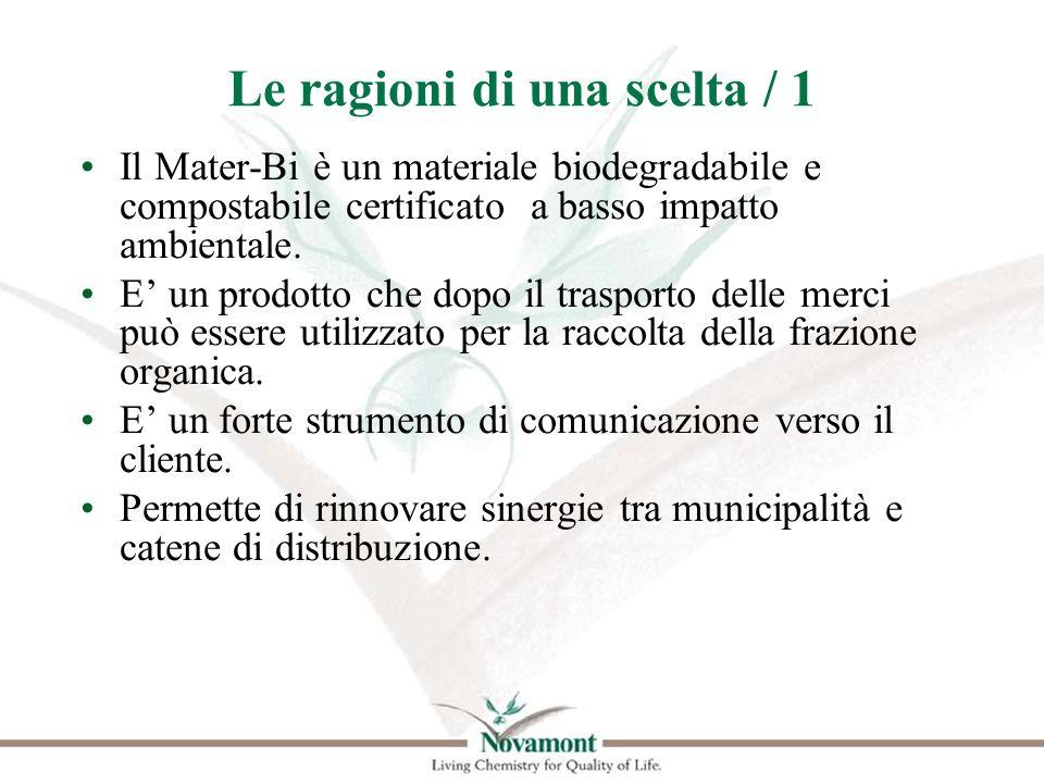 Le ragioni di una scelta / 1 Il Mater-Bi è un materiale biodegradabile e compostabile certificato a basso impatto ambientale. E un prodotto che dopo i
