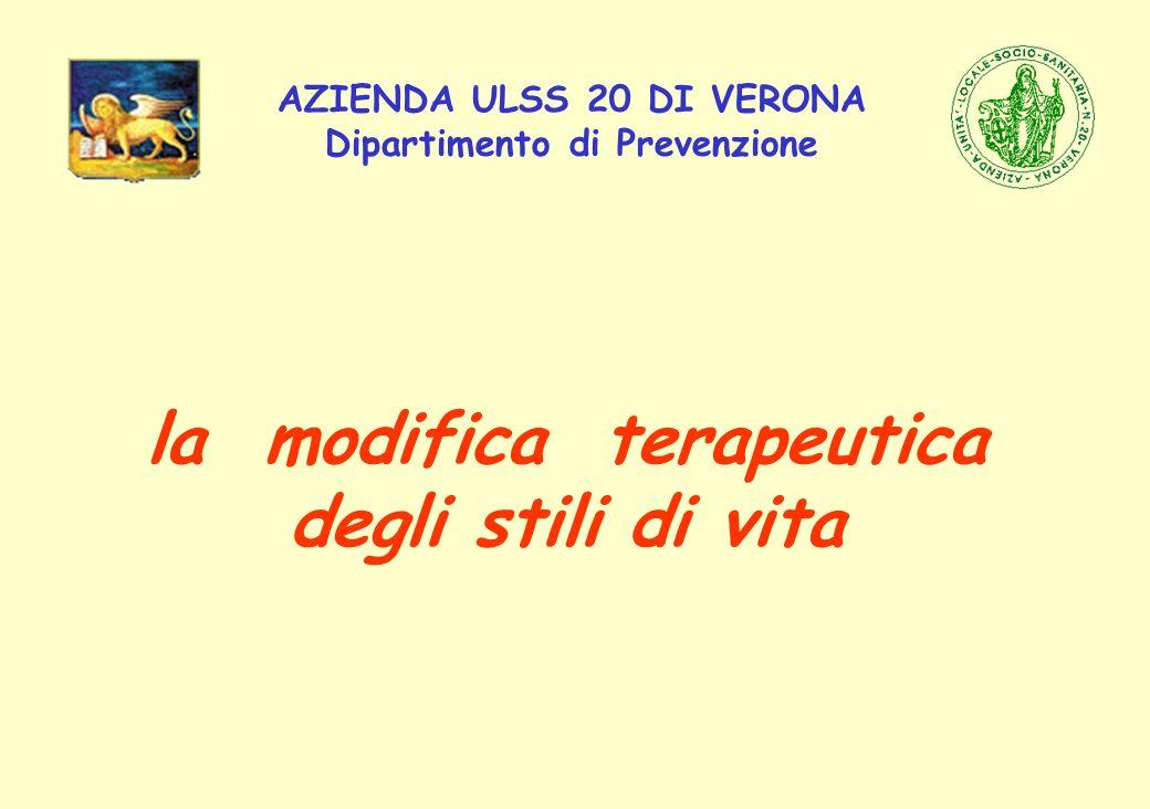 AZIENDA ULSS 20 DI VERONA Dipartimento di Prevenzione la modifica terapeutica degli stili di vita
