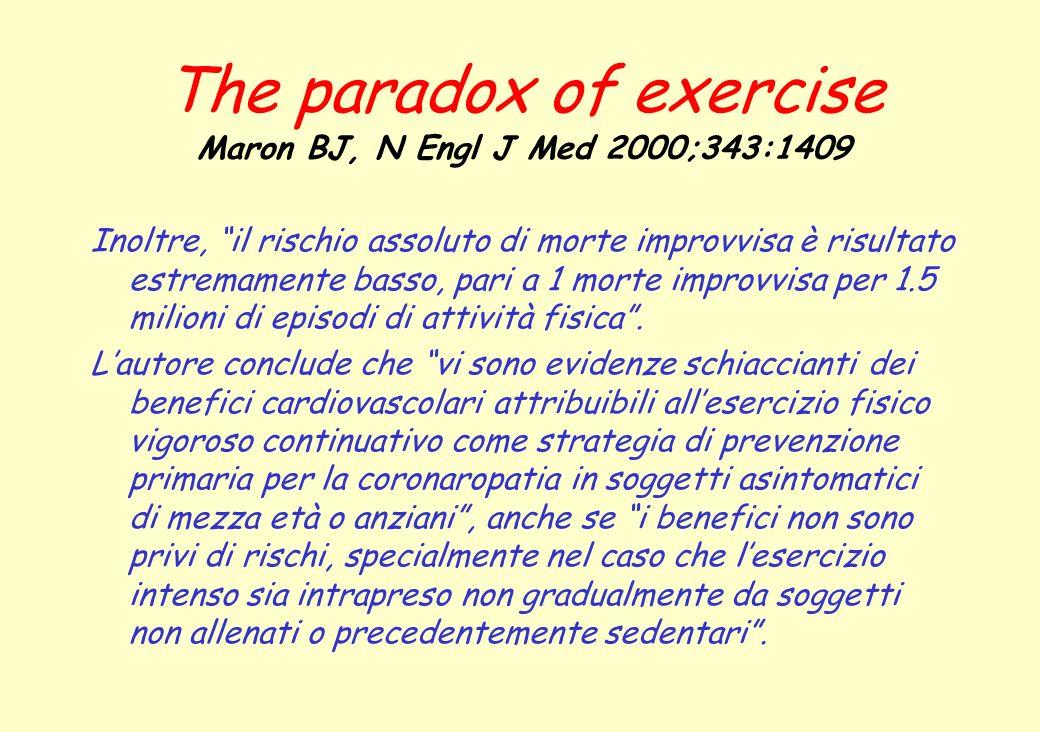 The paradox of exercise Maron BJ, N Engl J Med 2000;343:1409 Inoltre, il rischio assoluto di morte improvvisa è risultato estremamente basso, pari a 1