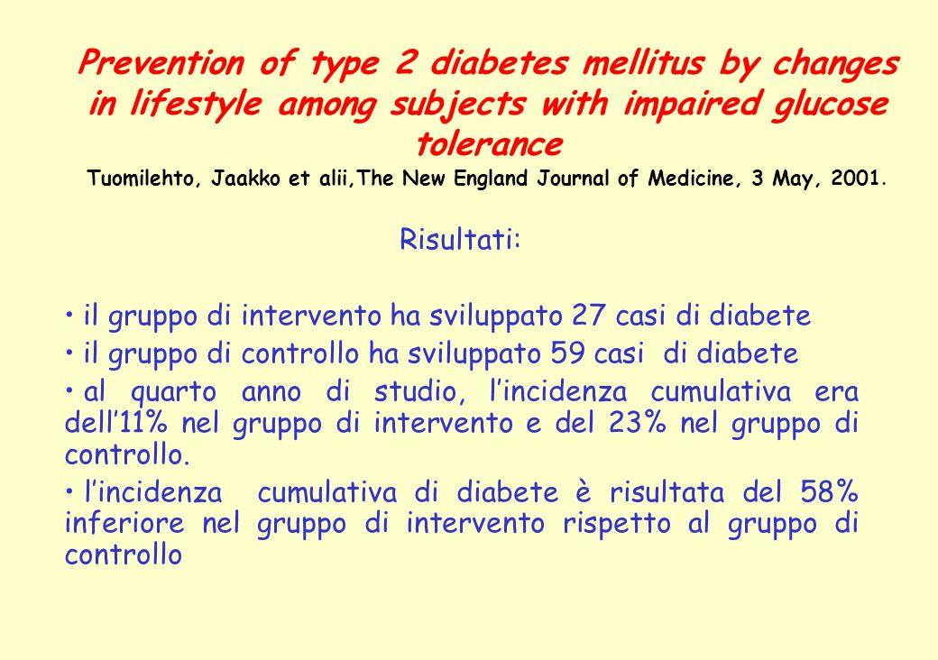 Risultati: il gruppo di intervento ha sviluppato 27 casi di diabete il gruppo di controllo ha sviluppato 59 casi di diabete al quarto anno di studio,
