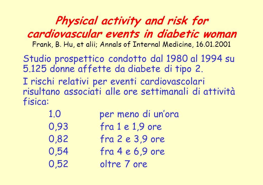Physical activity and risk for cardiovascular events in diabetic woman Frank, B. Hu, et alii; Annals of Internal Medicine, 16.01.2001 Studio prospetti