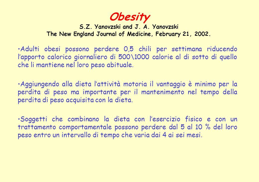Adulti obesi possono perdere 0,5 chili per settimana riducendo lapporto calorico giornaliero di 500\1000 calorie al di sotto di quello che li mantiene