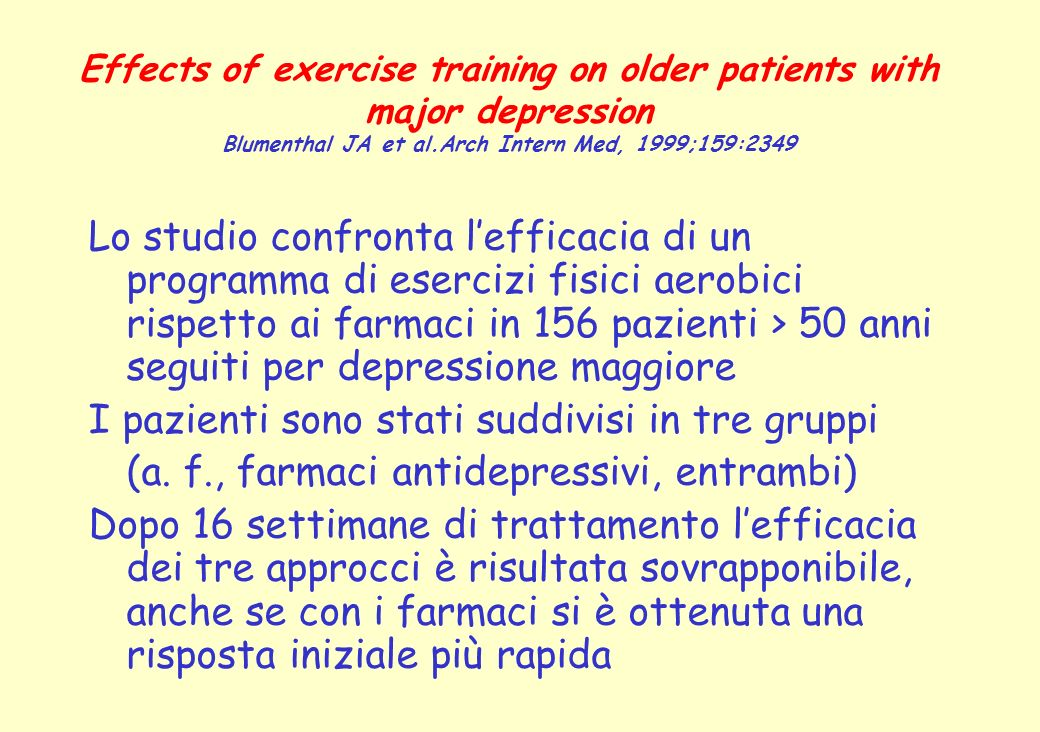Effects of exercise training on older patients with major depression Blumenthal JA et al.Arch Intern Med, 1999;159:2349 Lo studio confronta lefficacia