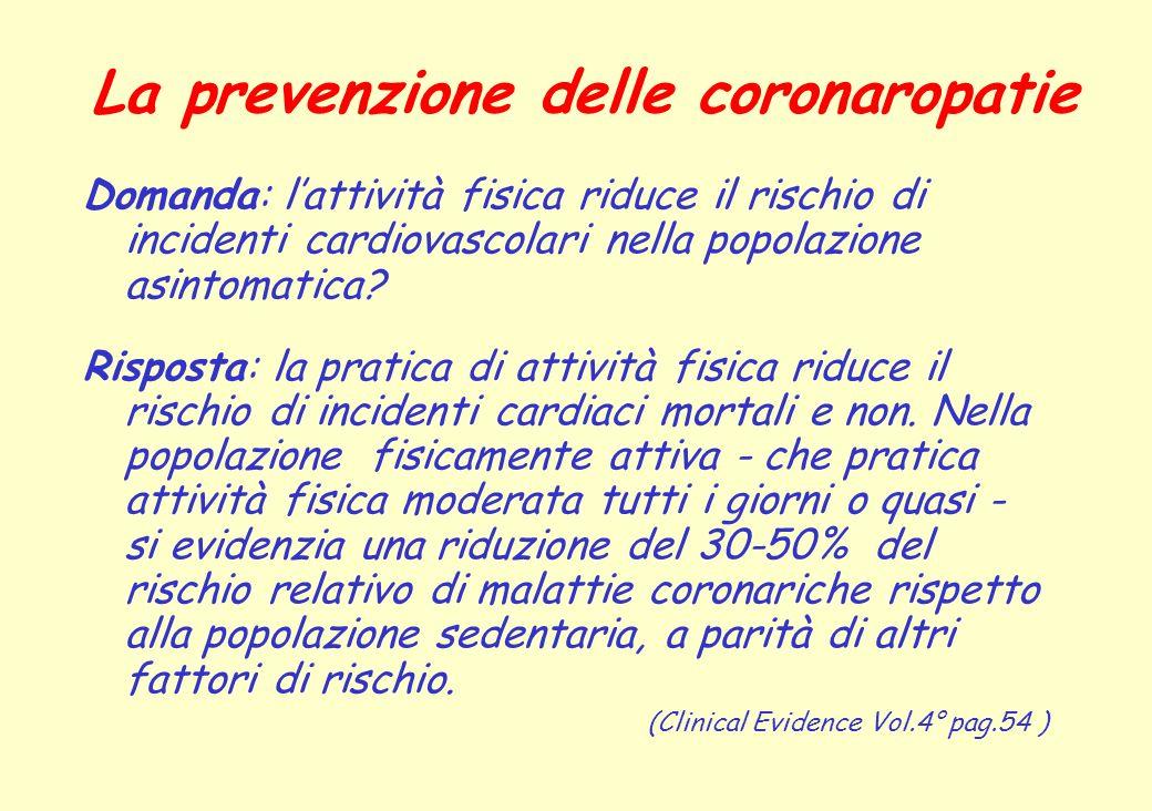 La prevenzione delle coronaropatie Domanda: lattività fisica riduce il rischio di incidenti cardiovascolari nella popolazione asintomatica? Risposta: