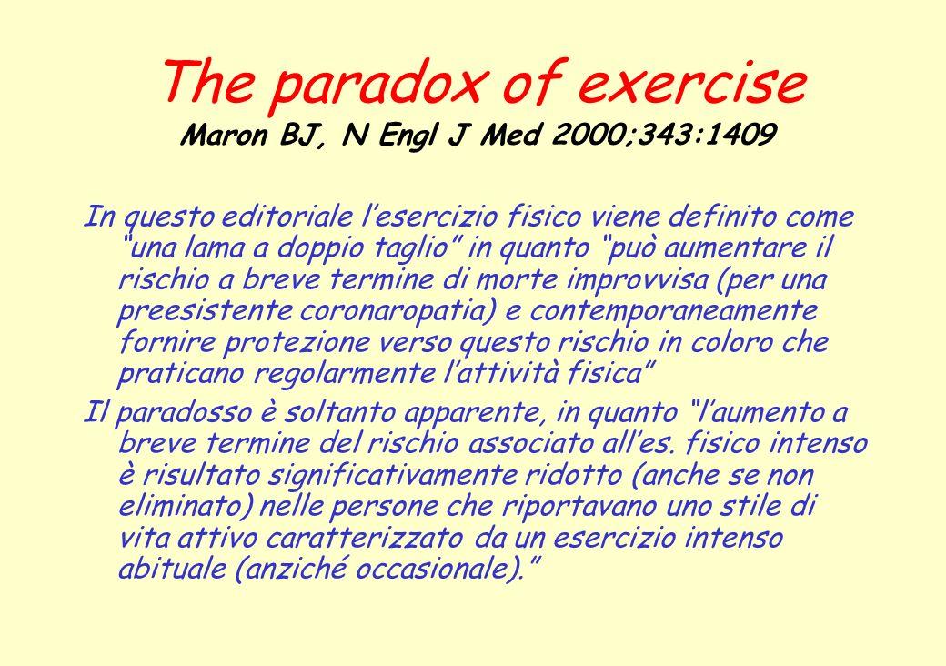 The paradox of exercise Maron BJ, N Engl J Med 2000;343:1409 Inoltre, il rischio assoluto di morte improvvisa è risultato estremamente basso, pari a 1 morte improvvisa per 1.5 milioni di episodi di attività fisica.