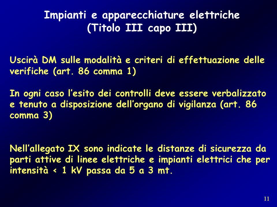 Impianti e apparecchiature elettriche (Titolo III capo III) Uscirà DM sulle modalità e criteri di effettuazione delle verifiche (art. 86 comma 1) In o