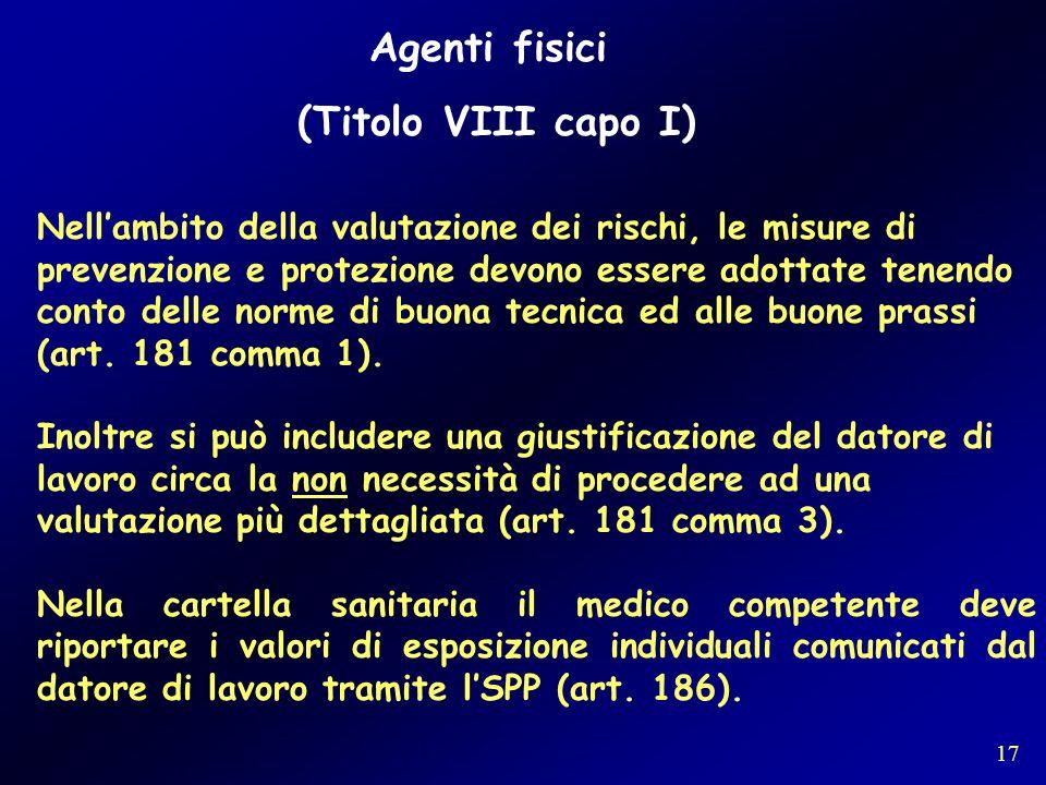 Agenti fisici (Titolo VIII capo I) Nellambito della valutazione dei rischi, le misure di prevenzione e protezione devono essere adottate tenendo conto