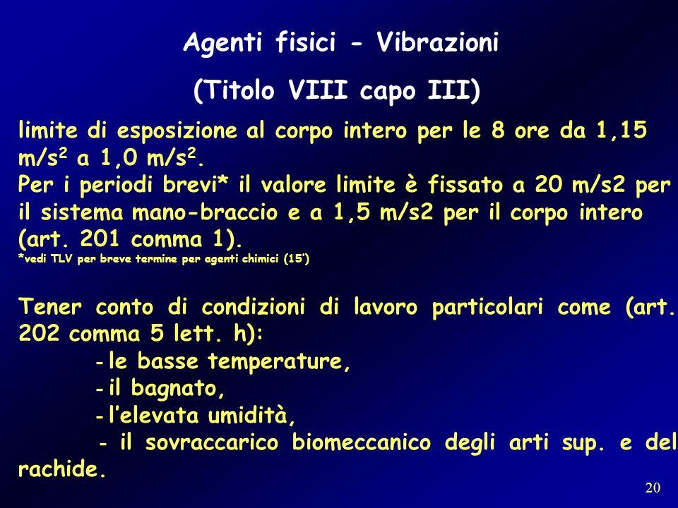 Agenti fisici - Vibrazioni (Titolo VIII capo III) limite di esposizione al corpo intero per le 8 ore da 1,15 m/s 2 a 1,0 m/s 2. Per i periodi brevi* i