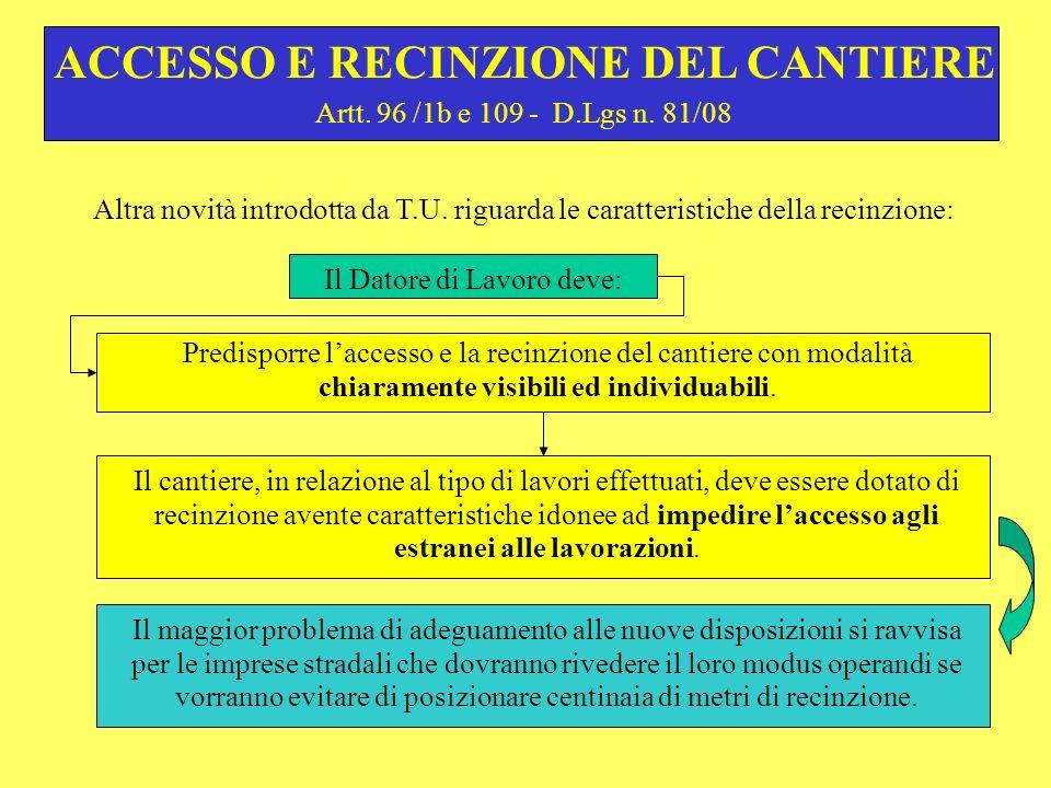 Artt. 96 /1b e 109 - D.Lgs n. 81/08 Il Datore di Lavoro deve: ACCESSO E RECINZIONE DEL CANTIERE Predisporre laccesso e la recinzione del cantiere con
