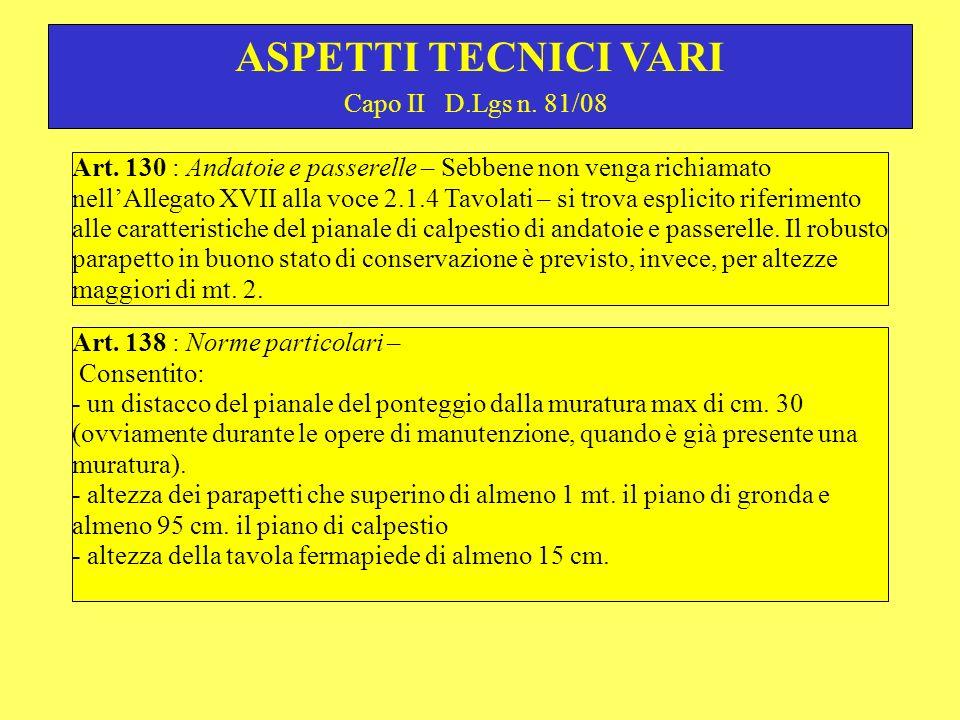 Capo II D.Lgs n.81/08 ASPETTI TECNICI VARI Art.