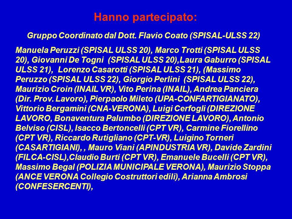 Gruppo Coordinato dal Dott. Flavio Coato (SPISAL-ULSS 22) Manuela Peruzzi (SPISAL ULSS 20), Marco Trotti (SPISAL ULSS 20), Giovanni De Togni (SPISAL U