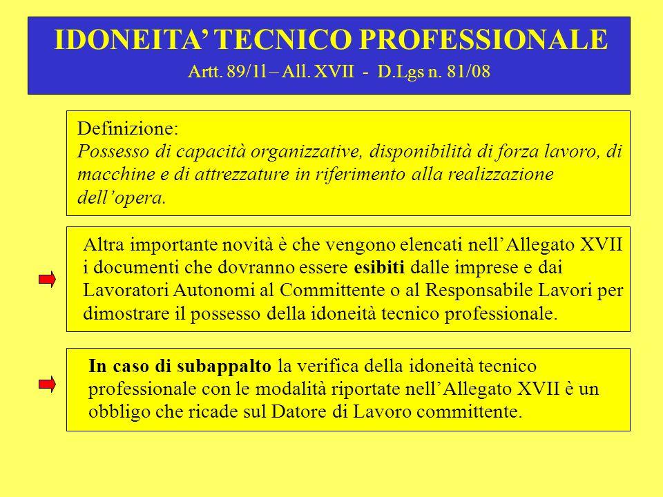Artt.89/1l – All. XVII - D.Lgs n.