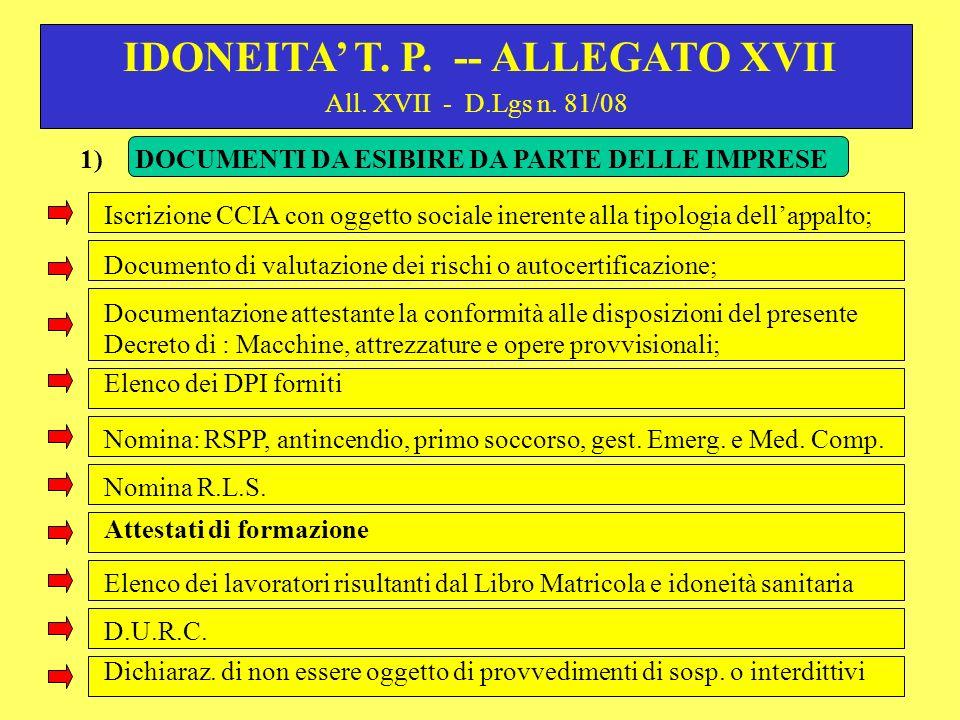 All. XVII - D.Lgs n. 81/08 Iscrizione CCIA con oggetto sociale inerente alla tipologia dellappalto; IDONEITA T. P. -- ALLEGATO XVII Documento di valut