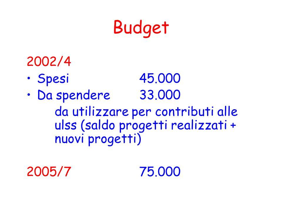 Budget 2002/4 Spesi 45.000 Da spendere33.000 da utilizzare per contributi alle ulss (saldo progetti realizzati + nuovi progetti) 2005/775.000
